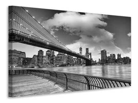 Billede på lærred Skyline Black And White Photography Brooklyn Bridge NY