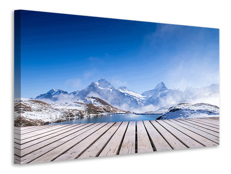 Canvas print Sundeck At The Swiss Mountain Lake