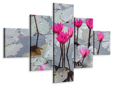 5 Piece Canvas Print Jump In The Lily Pond