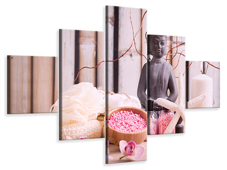 5 Piece Canvas Print Spa & Buddha